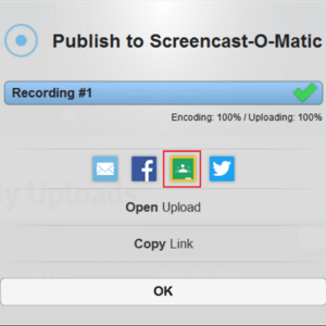 Screenshot of Screencast-O-Matic sharing interface with classroom selected