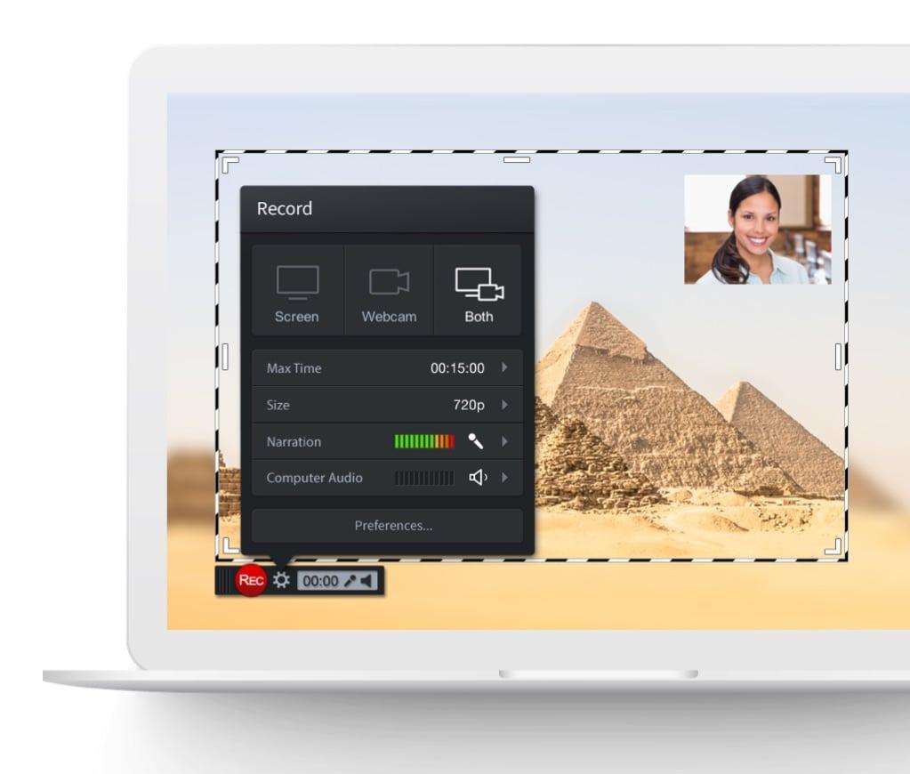 Screenshot of free screen recorder